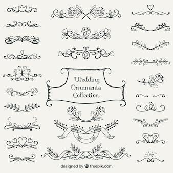 Colección de ornamentos de boda dibujados a mano