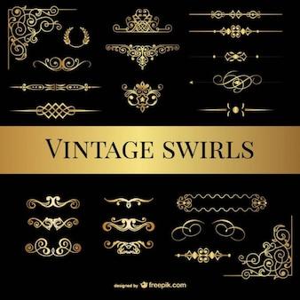 Colección de ornamentos dorados