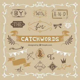 Colección de ornamentos y palabras clave en estilo vintage