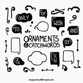 Colección de ornamentos y palabras claves en colores negro y blanco