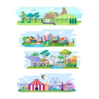 Colección de paisajes planos