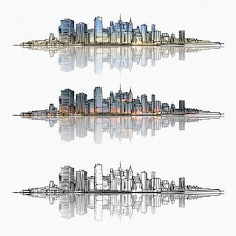 Colección de paisajes urbanos dibujados a mano