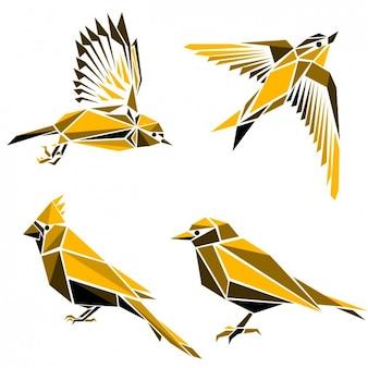 Colección de pájaros hechos de formas poligonales