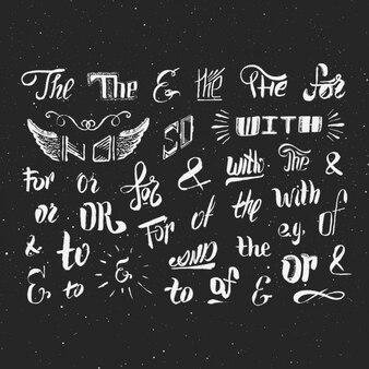 Colección de palabras escritas a mano
