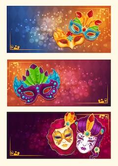 Colección de pancartas de dibujos animados con máscaras de carnaval decoradas con plumas y diamantes de imitación