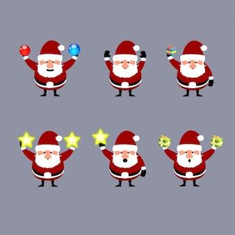 Colección de Papá Noel con adornos navideños