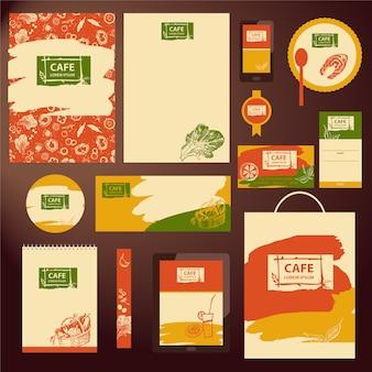 Colección de papelería de cafetería