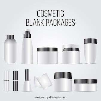 Colección de paquetes de cosméticos en blanco