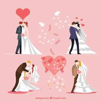 Colección de parejas de boda besándose