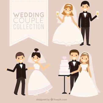Colección de parejas de recién casados sonrientes