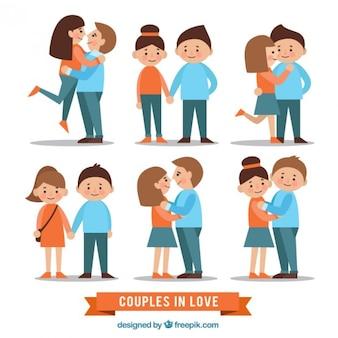 Colección de parejas enamoradas planas