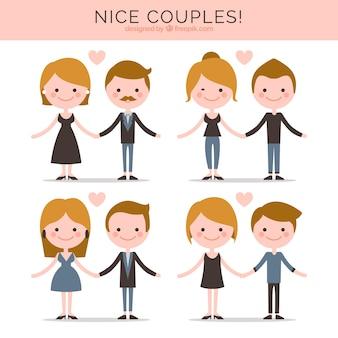 Colección de parejas planas bonitas