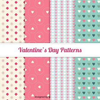 Colección de patrones adorables del día de san valentín