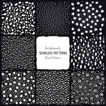 Colección de patrones blancos y negros dibujados a mano