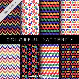 Colección de patrones coloridos y modernos