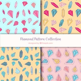Colección de patrones con diamantes en diferentes colores