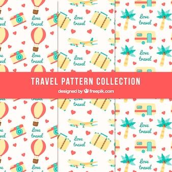 Colección de patrones con elementos de viaje de verano