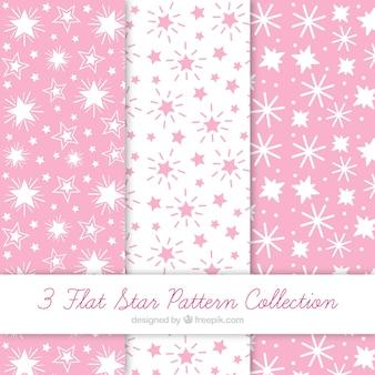 Colección de patrones con estrellas blancas y rosas