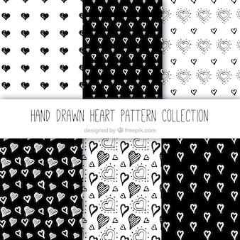 Colección de patrones de bocetos de corazones