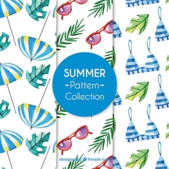 Colección de patrones de elementos de verano