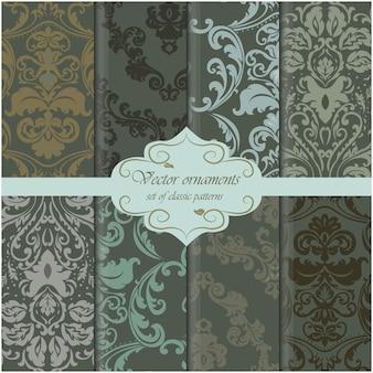 Colección de patrones de fondo verde oscuro