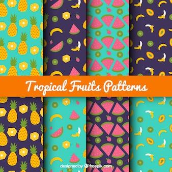 Colección de patrones de frutas tropicales