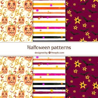 Colección de patrones de halloween de acuarela