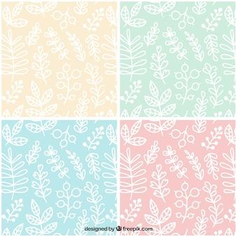 Colección de patrones de hojas blancas dibujadas a mano