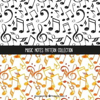 Colección de patrones de notas musicales naranja y negro