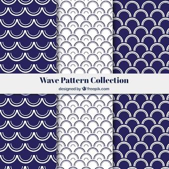 Colección de patrones de olas con formas semicirculares