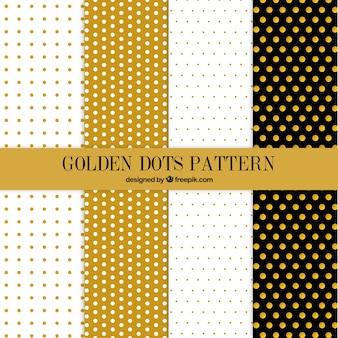Colección de patrones de puntos dorados bonitos