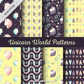 Colección de patrones de unicornios en amarillo y negro