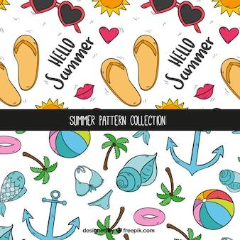 Colección de patrones de verano dibujados a mano