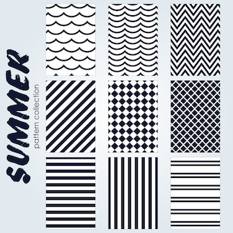Colección de patrones de verano en blanco y negro