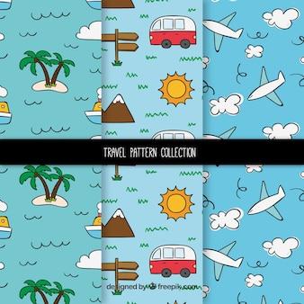Colección de patrones de viaje divertidos dibujados a mano