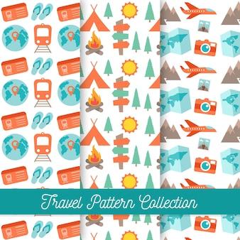 Colección de patrones de viaje y acampada