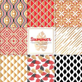 Colección de patrones decorativos y dorados