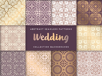 Colección de patrones étnicos dorados