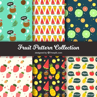 Colección de patrones frutales