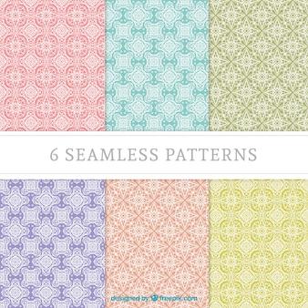Colección de patrones geométricos en colores pastel