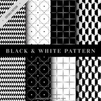 Colección de patrones geométricos en negro y blanco