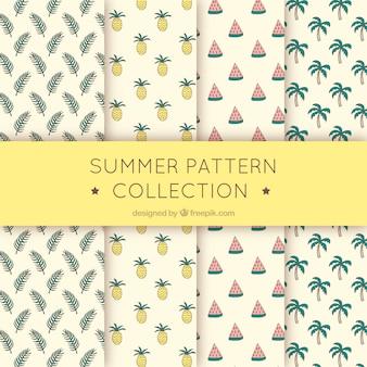 Colección de patrones tropicales de verano