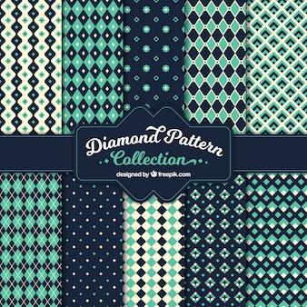 Colección de patrones vintage de formas geométricas