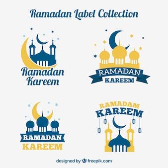 Colección de pegatinas azules y doradas de ramadan