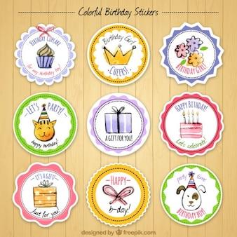 Colección de pegatinas bonitas de acuarela de cumpleaños