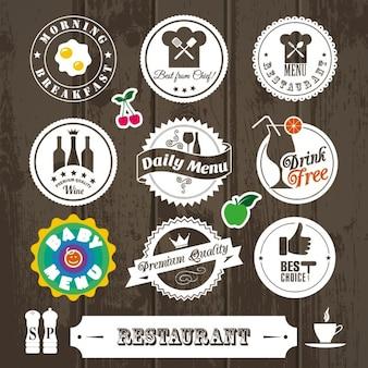 Colección de pegatinas bonitas vintage de restaurante