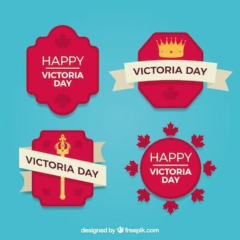 Colección de pegatinas con cetro y corna del día de la reina victoria