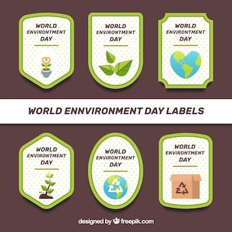 Colección de pegatinas con fondo de puntos del día mundial del medioambiente