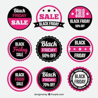 Colección de pegatinas de Black Friday rosa