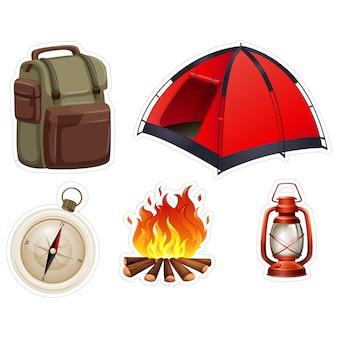 Colección de pegatinas de camping